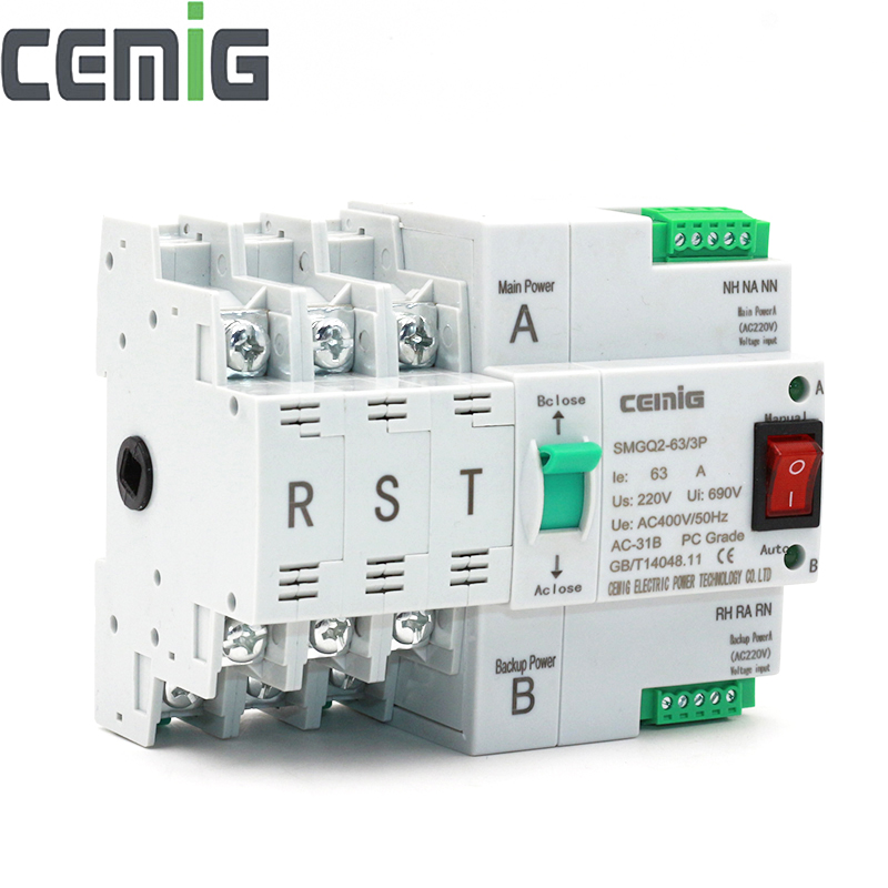 ATS Dual-Power Automatic Transfer Switch SMGQ2-63/3P Circuit Breaker MCB AC 230V 16A to 63A Household 35mm Rail Installation