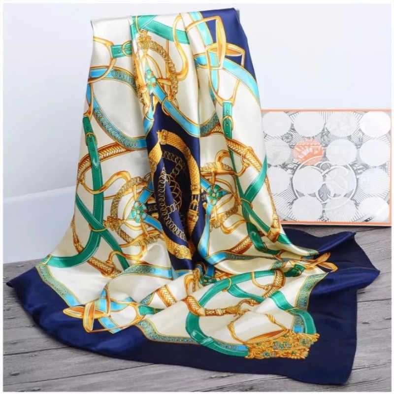 Sciarpa di seta Delle Donne dei capelli di Stampa collo Piazza Sciarpe Ufficio Delle Signore Scialle Bandana 90*90 centimetri Musulmano Hijab Fazzoletto silenziatore foulard