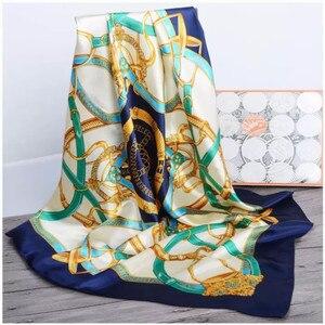 Image 1 - Zijden Sjaal Vrouwen Afdrukken Haar Nek Vierkante Sjaals Kantoor Dames Sjaal Bandana 90*90Cm Moslim Hijab Zakdoek Uitlaat foulard