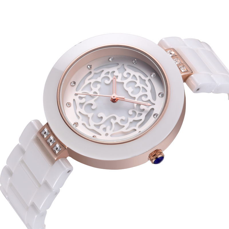 WEIQIN White Ceramic Watch Female Fashion Waterproof Quartz Watches Best Gift Luxury Brand Women's Dress Bracelet Wristwatch qiorange battery switches disconnect isolator master 1 2 both off selector switch for marine boat car rv vehicles