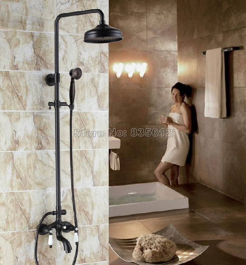 Black Oil Rubbed Bronze Wall Mounted Bathroom Rain Shower Faucet Set with 8 inch Shower Heads + Bathtub Mixer Taps Whg044