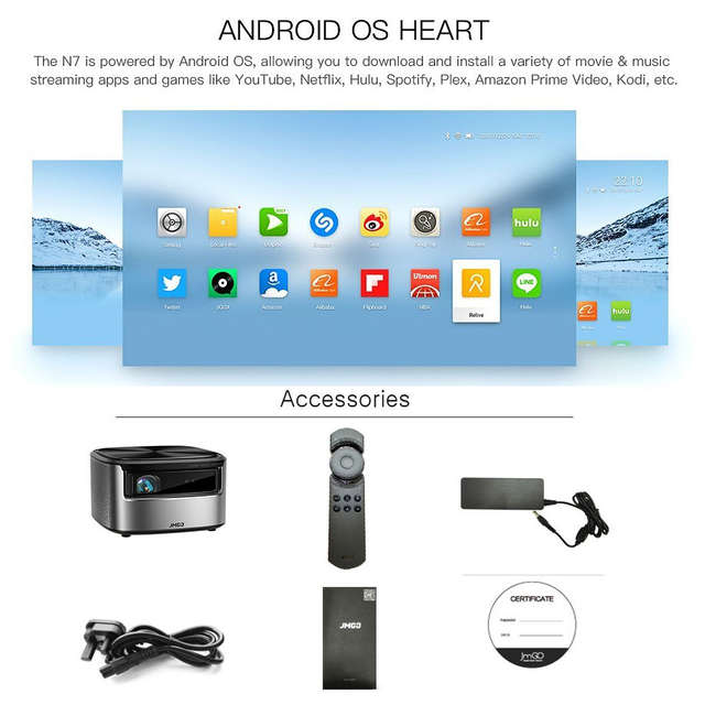 2dfef5bdea9e73 JmGO N7 Full HD 1080P Projector,Android OS,1300 ANSI Lumens,1920*1080  Bluetooth 2G/16G Support 4K Video Wifi 3D Projector Beamer-in LCD Projectors  from ...