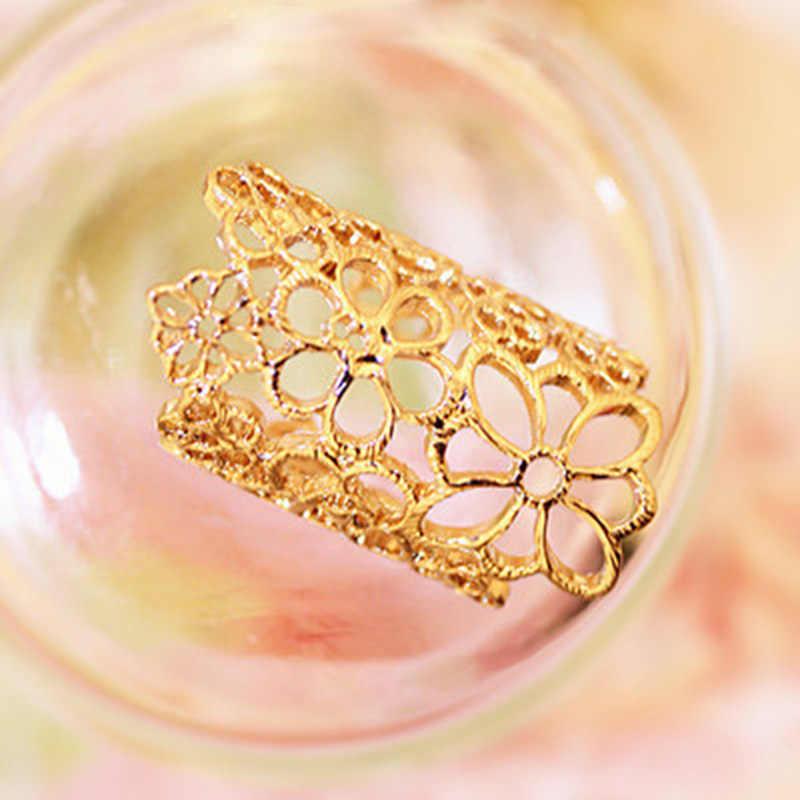 New Fashion Longo Oco Dedo Abertura do Anel de Flor Elegante Do Laço Rosa Anéis Unisex Anéis Partido Jóias