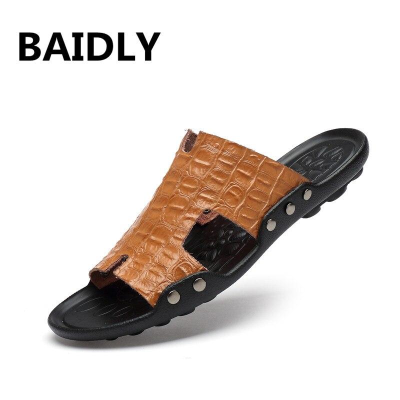 Clever Marke Design Handgemachte Leder Männer Kühlen Hausschuhe Neue Sommer Strand Hausschuhe Casual Schuhe Männer Hausschuhe Nicht-slip Rutschen Schuhe Einfach Zu Reparieren