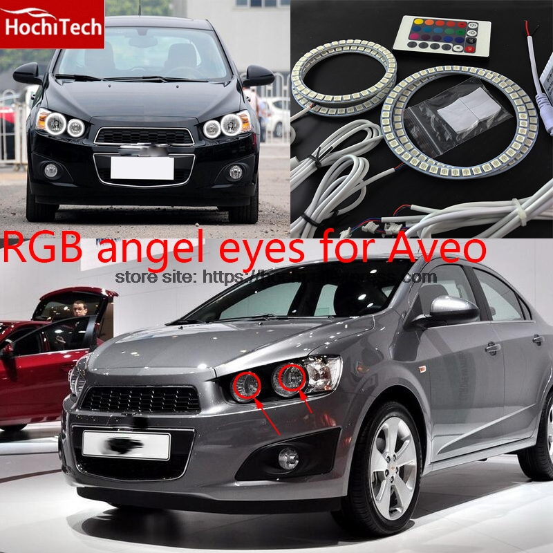 HochiTech RGB Multi-Color LED Angel Eyes Halo Rings kit super brightness car styling for Chevrolet Aveo 2011 2012 2013 2014 for uaz patriot ccfl angel eyes rings kit non projector halo rings car eyes free shipping