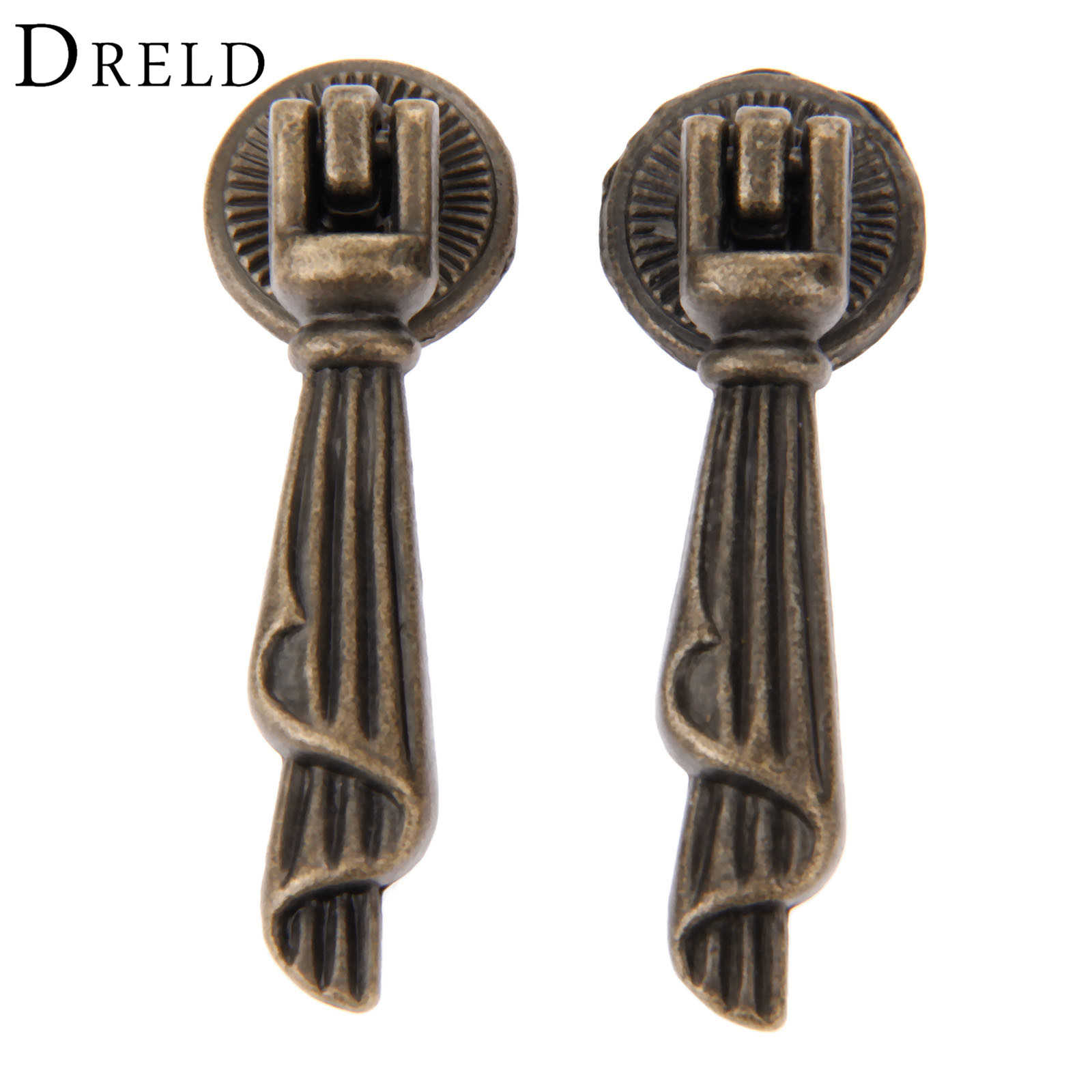 DRELD 2Pcs Antique Furniture Handle Vintage Cabinet Knobs and Handles Kitchen Drawer Wardrobe Cupboard Grip Pull Knobs w/Screws 1 pair 96mm vintage furniture cupboard wardrobe handles and knobs antique bronze alloy kitchen cabinet door drawer pull handle