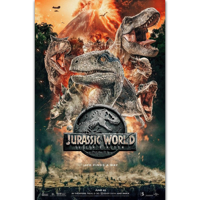 US $5 48 7% OFF|MQ3789 Jurassic World Fallen Kingdom New 2018 Movie  Dinosaurs Film Art Poster Silk Light Canvas Home Decor Wall Picture  Print-in