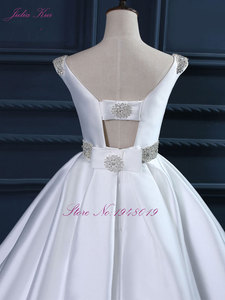 Image 4 - Julia Kui High end Custom Elegant Satin Wedding Dresses  Scoop Neckline With Beading Sash Ball Gowns Robe de Mariage Plus Size