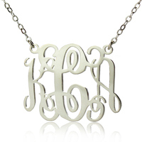 New Personalized 925 Sterling Silver Jewelry 3 LettersName Necklace Monogram Initial Necklace 1 25 To US