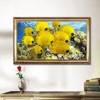 حديث seascape قاع ذهبية المشهد جدار اللوحة الأسماك البحرية قماش الفن صورة للديكور غرفة نوم الصورة المؤطرة