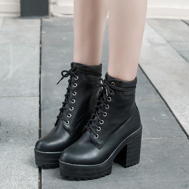 55ef157fa78 YMECHIC 2018 Women s Punk Chunky Block High Heels Winter Platform Goth Shoes  White Black Lace Up