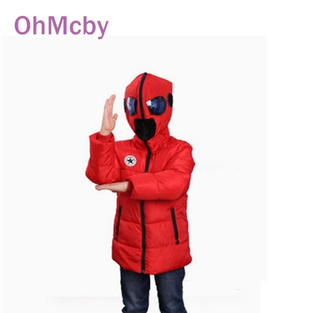 Nova Moda Inverno Criança de Down Parkas Roupa das Crianças Dos Desenhos Animados Meninos Casacos Outerwear Jaqueta Com Capuz para Os Meninos 4-10Y