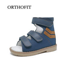 ORTHOFIT Stylish Nubuck Bule Hoop&Loop Boy Orthopedic Sandals Kids Genuine Leather Healthy Sandals Boys