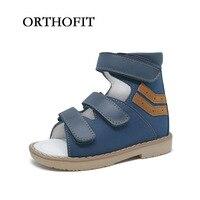 ORTHOFIT Stylish Nubuck Bule Hoop & Vòng Trẻ Em Cậu Bé Chỉnh Hình Dép Trẻ Em Da Chính Hãng Khỏe Mạnh Giày Giày