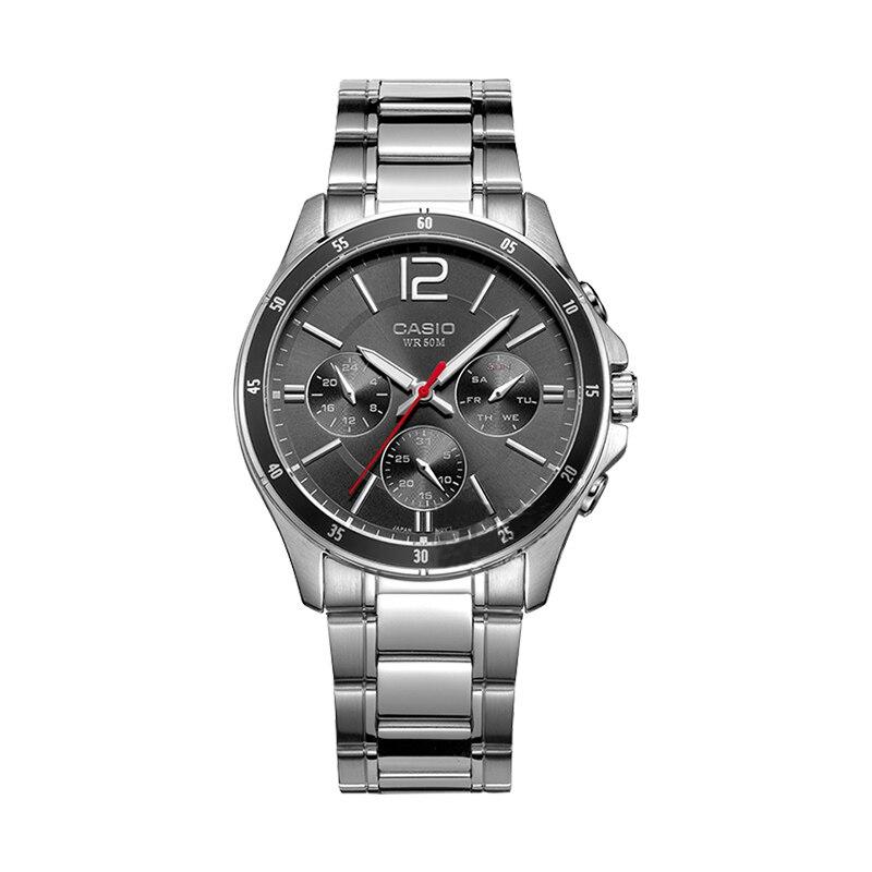 카시오 시계 남자 비즈니스 캐주얼 포인터 시리즈 쿼츠 남자 시계 MTP 1374D 1A-에서수정 시계부터 시계 의  그룹 1