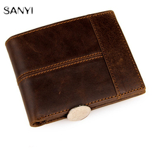 100% Top Quality Genuine Cow Leather Men Wallets Fashion Splice Purse Dollar Price Carteira Masculina Mens Purse Wallet