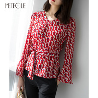 Office Lady Fan Shaped Print Women Blouse 100 Silk Flare Sleeve With Sash Shirts Womens Tops