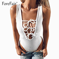 Sexy Low Cut Drawstring Patchwork Basic Romper Knitted Cotton Bandage Bodysuit Women Sleeveles Rompers White/Pink Short jumpsuit