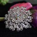 12 Pcs a Lot Silver Plated Crystal Big Rhinestone Brooch Flower Round Brooches For Women Wedding Clip Scarf Buckle Hijab Pins
