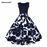 Himanjie S 5XL Floral Print High Waist Vintage Dress Women 2017 Summer Vestido De Festa Robe