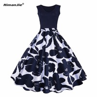 Himanjie S 5XL Floral Print High Waist Vintage Dress Women 2017 Summer Vestido De Festa Robe