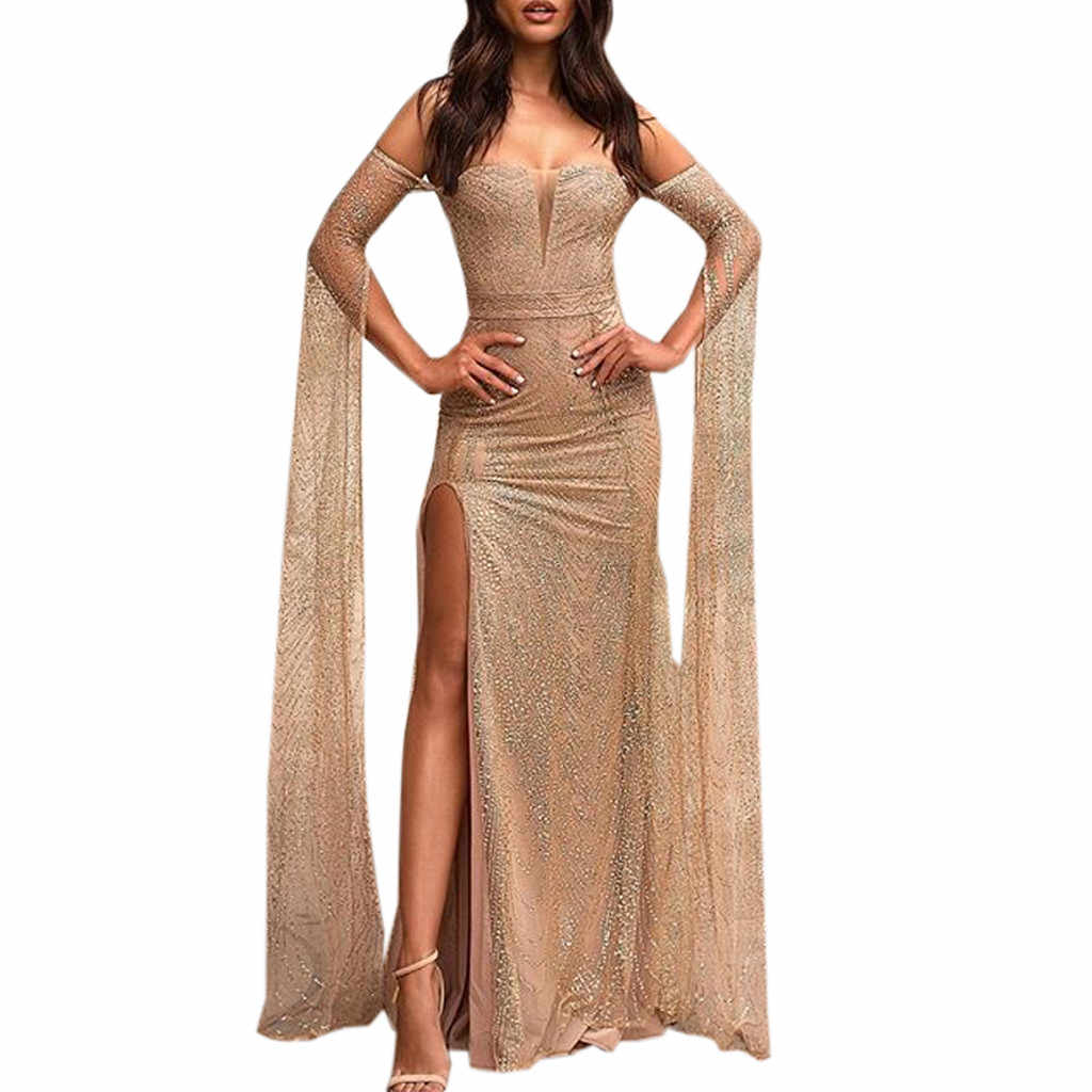 Sexy Womens Long Sleeve casual dress women elegant  Off Shoulder Split Bodycon Cocktail Prom Gown Dress vestido elbise robe #G6
