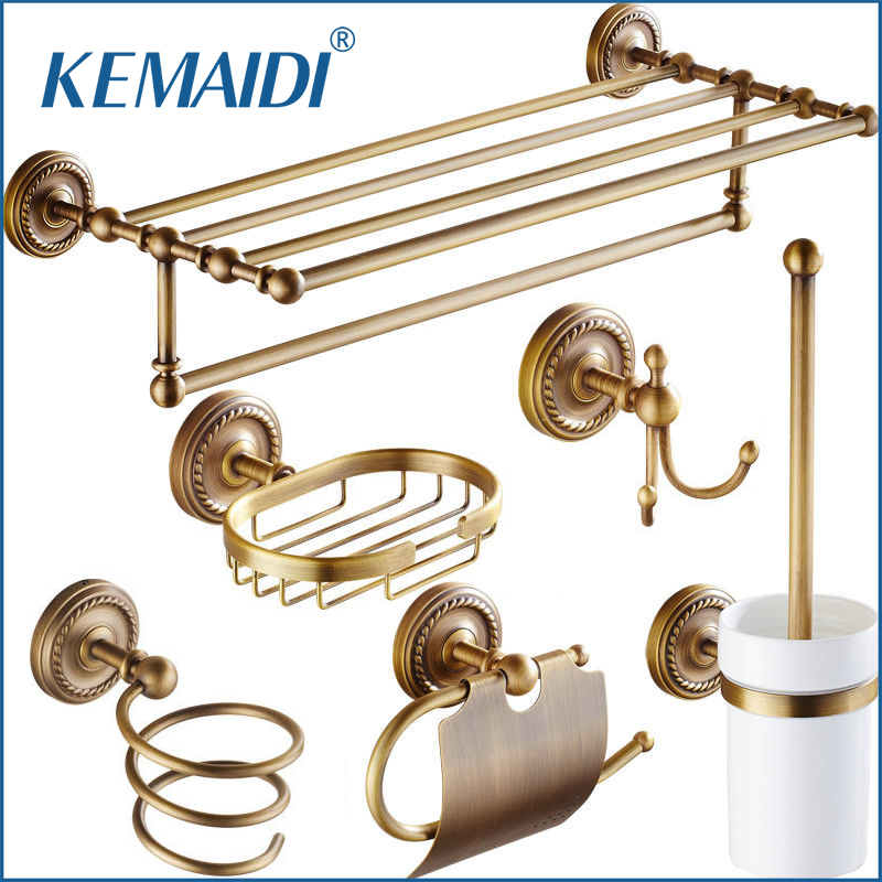 KEMAIDI Antique Brass Bathroom Accessories paper Holder Toilet Brush Rack Commodity Basket Shelf Soap Dish Robe