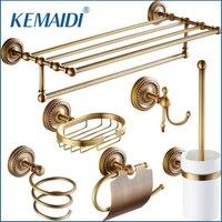 KEMAIDI Antique Brass Accesorios de Baño Titular de papel Higiénico Estante Del Cepillo Mercancía Cesta Jabonera Estante Percha Secador de Pelo