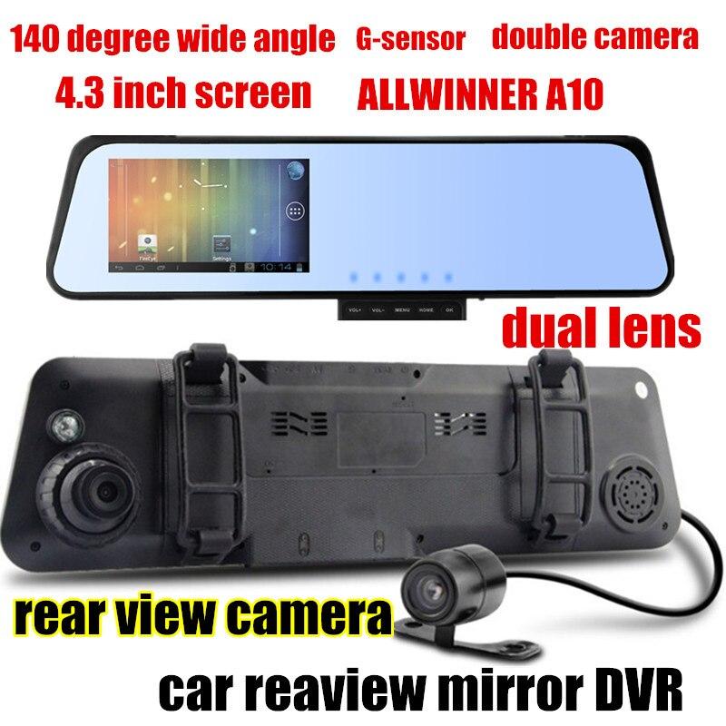 4.3 pouce Double lentille Caméscope De Voiture Rétroviseur DVR Enregistreur Vidéo de Vision Nocturne Allwinner A10 2X140 Degrés Large Angle