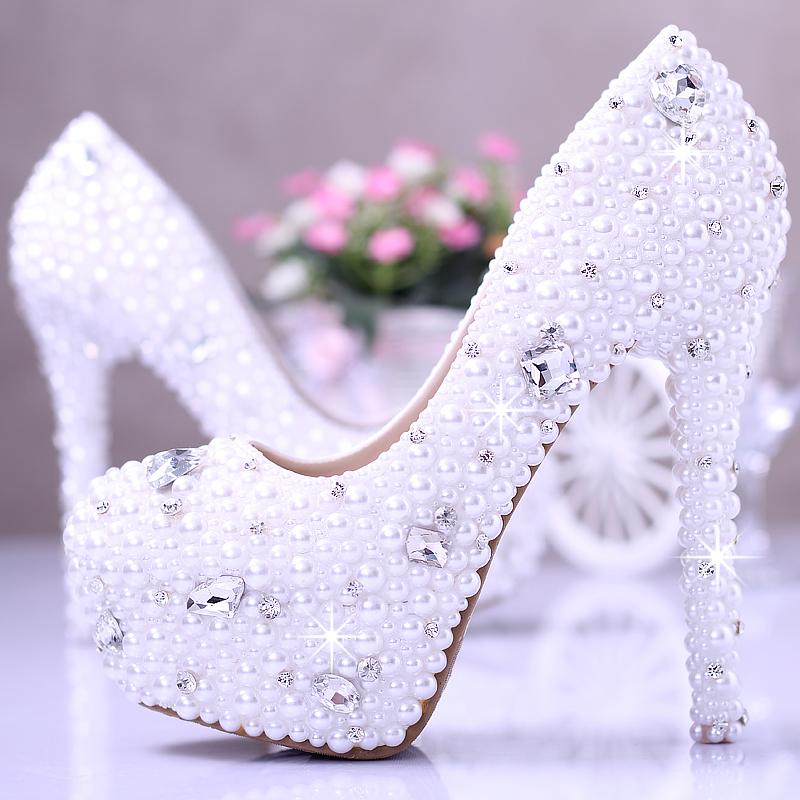 White pearl wedding shoes crystal diamond bridal shoes with high waterproof platform shoes wedding photos party