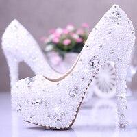 Blanc perle chaussures de mariage cristal de diamant chaussures de mariée avec haute étanche plate-forme chaussures de mariage photos partie chaussures pour fille