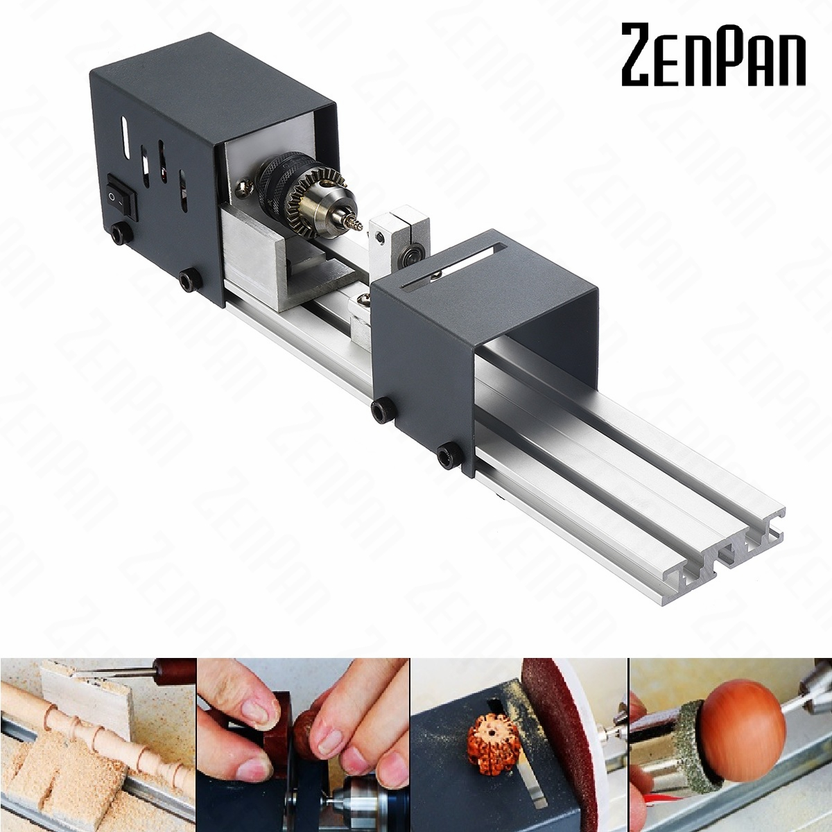 Mini Lathe Beads Machine Wood Working DIY Lathe Set with DC 24V Power Adapter Metal Cover machine