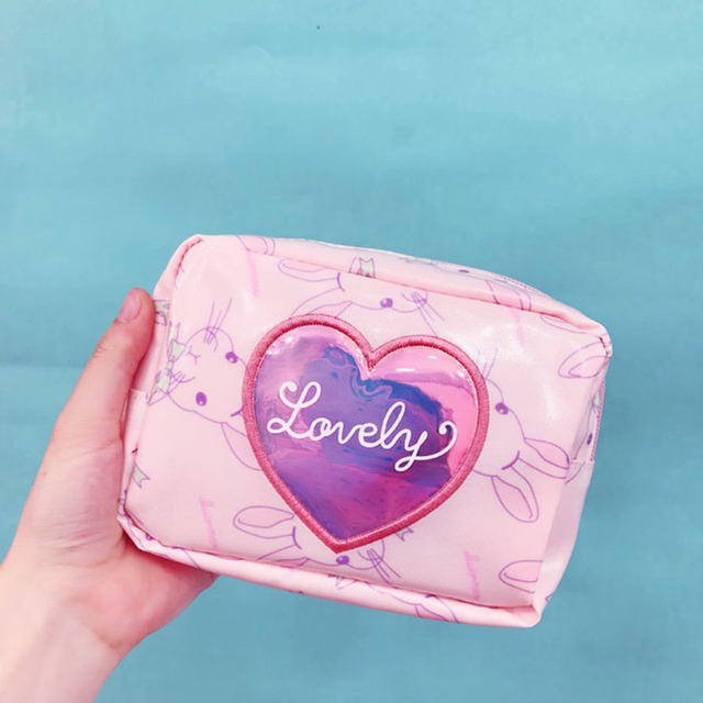 8b5e78581f71 US $6.72 30% OFF|Women Lovely Cute Cosmetic Bag Female Travel Heart Laser  Makeup Make Up Toiletry Storage Organizer Case Pouch Girls Kosmetyczka-in  ...
