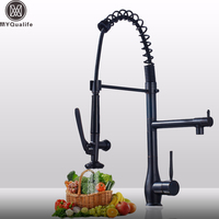 Luxury Black Kitchen Faucet Deck Mounted Kitchen Mixer Crane Pull Down Hot And Cold Water Faucet