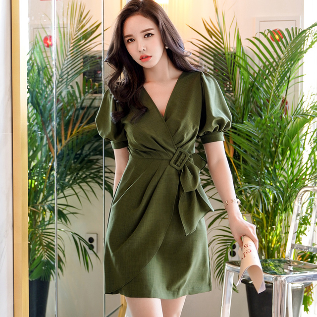 Original Brand Summer Dresses 2018 New Korean Fashion Slim Cross V Neck Lantern Sleeve Dress Women Wholesale