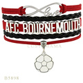 (10 PCS/Lot)Infinity Love Afc Bournemouth Soccer Football Charms Bracelets For Women Jewelry Gifts Red Black Leather Bracelets