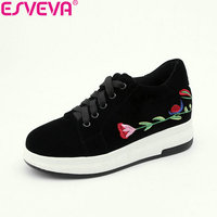 ESVEVA 2018 Women Pumps Sneaker Casual Round Toe High Heels Flock Comfortable To Wear Embroidery Flower