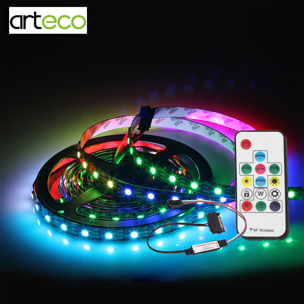 DC5V 1M 30/60LEDs/m WS2812B RGB Led Strip No Waterproof with LED RF Controller SATA Power Supply for PC Computer Case Decotation