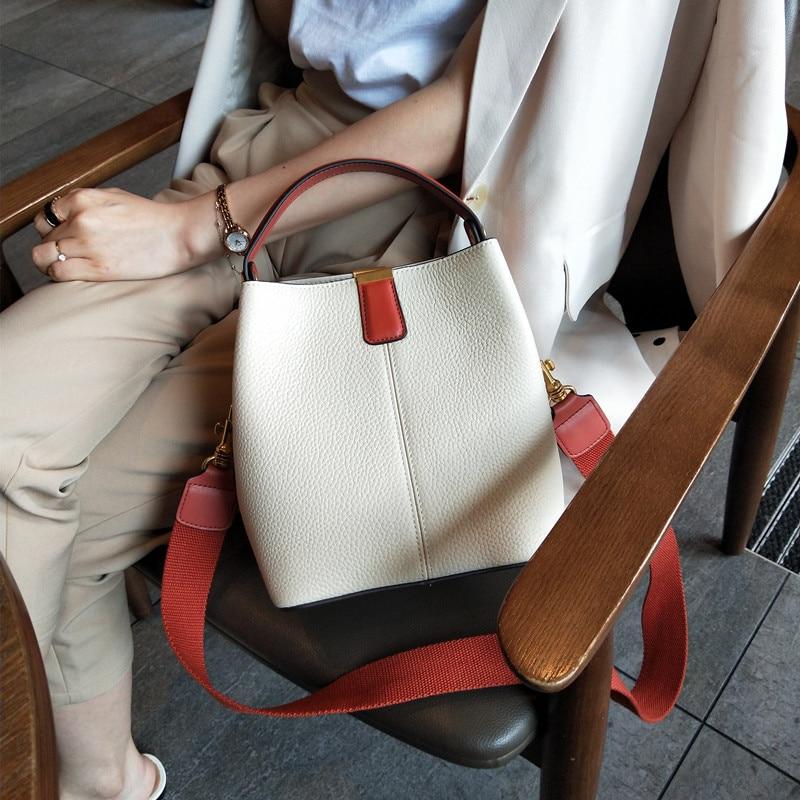 Genuine Leather Handbags Head Layer Cowhide Litchi Grain Women Handbags Fashion Bucket Shoulder Messenger Bags Composite Bags