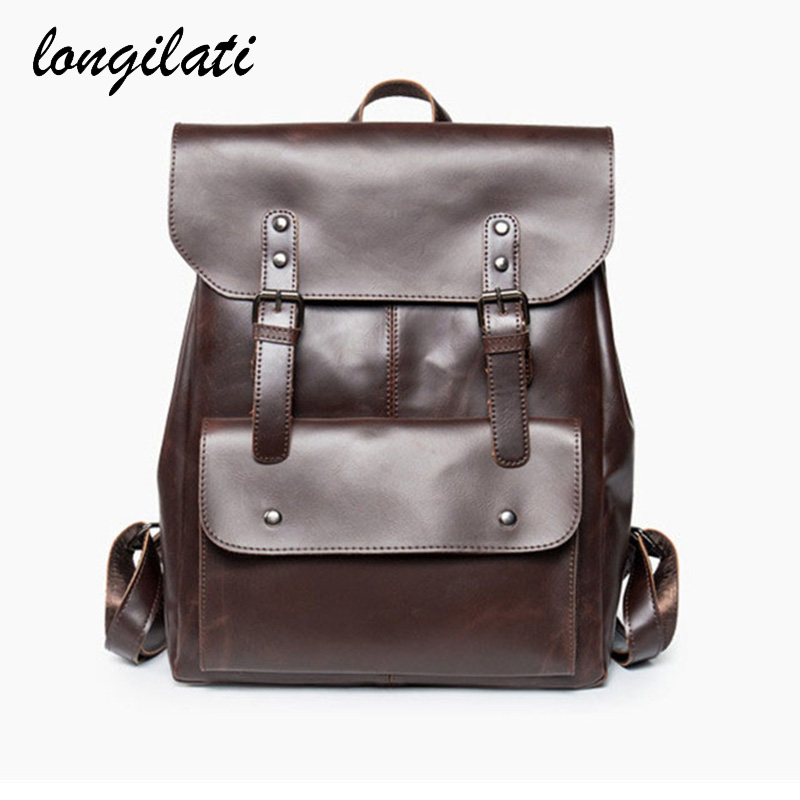 Leather Backpack Men New 2017 Vintage Shoulder Bag Solid Backpack For Male Cover Tote Bags Brown Mochila Sac a dos Rucksack frees shipping new arrived mini pinpointing hand held waterproof pointer metal detector pinpointer detector