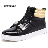 Men Casual Shoes Fashion New Style High Top Metal Sequins Men S Flat High Top Male