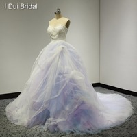 Sweetheart Ball Gown Pink Blue Purple Colored Wedding Dresses Real Photo Pearl Beaded Luxury Factory Custom