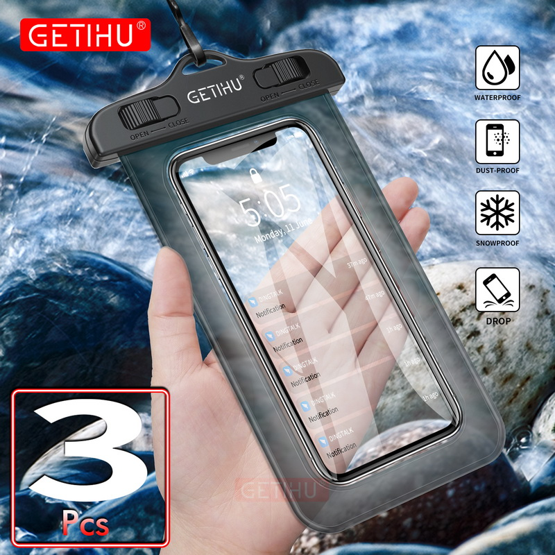 GETIHU Universal Waterproof Bag Pouch <font><b>Phone</b></font> <font><b>Case</b></font> For iPhone XS Max XR X 8 7 6 Plus Samsung S8 Note 8 For Huawei <font><b>Water</b></font> <font><b>Proof</b></font> <font><b>Case</b></font> image