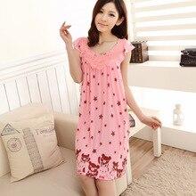 Fahion Summer Women Sleepwear Cotton Printed Sleeping Dress Nightgown For Ladies Women Home Clothes Sleepshirt Plus Size 3XL