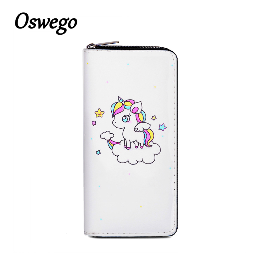 OSWEGO PU Leather Unicornio Women Long Wallet Fashion Clutch Wallet Zipper Coin Purse Card Holder Phone Bag Long Purse for Women thinkthendo women leather card phone holder long arrow wallet checkbook tassel handbag purse