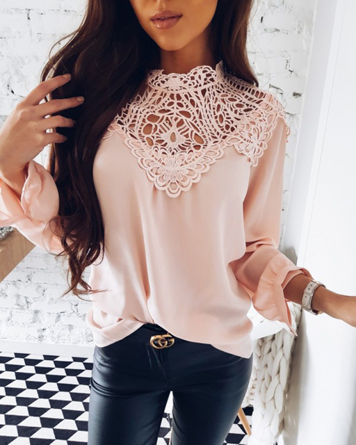 Summer 2018 Womens Tops and Blouses New Sweet Hollow Out Flower Blouse Casual Lace Patchwork Tops Long Sleeve Chiffon Shirts