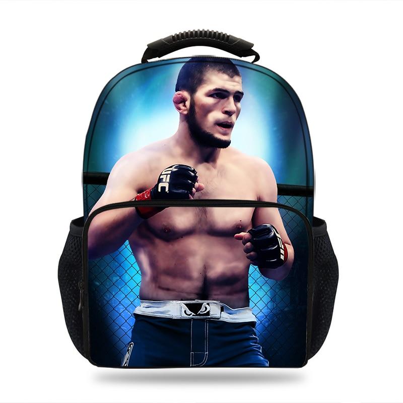 Fashion 3D Khabib UFC Backpack Kids School bags for Mens Felt Casual laptop ipad travel Mens backpack for teenage Boys Mochila майка print bar khabib