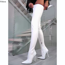 Stiletto Heels Boots Party-Shoes White Dress Spring Over-The-Knee-Boots Pointed-Toe Women