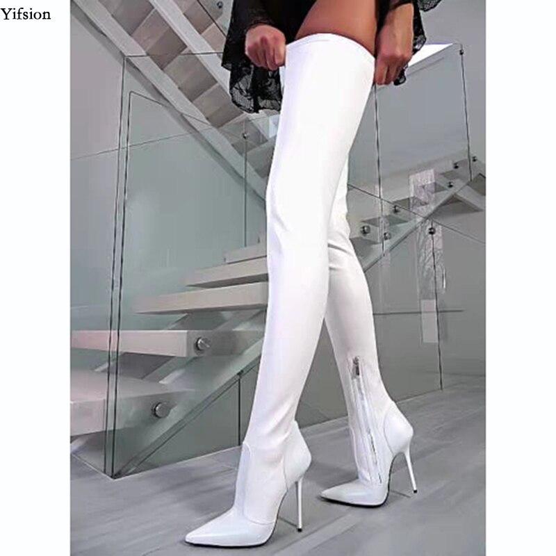 Olomm femmes printemps sur le genou bottes Sexy talons aiguilles bottes bout pointu blanc robe de soirée chaussures femmes Plus la taille américaine 5-15