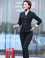Ladies Black Blazer Women Business Suits Formal Office Suits Work Wear Uniforms Pant And Jacket Set